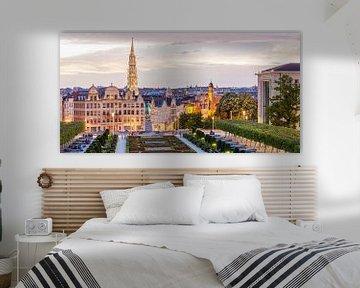 Le Mont des Arts à Bruxelles en soirée sur Werner Dieterich