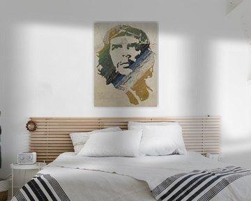 Muurschildering van  Ché Guevara in Havana van Henny Hagenaars