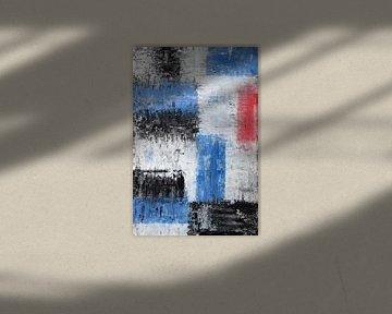 Vierkante V in zwart, wit, rood en blauw van elha-Art