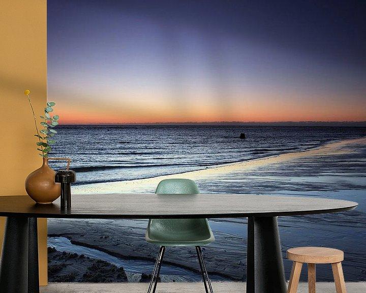 Sfeerimpressie behang: Zonsondergang op het strand van Sylt van Frank Herrmann