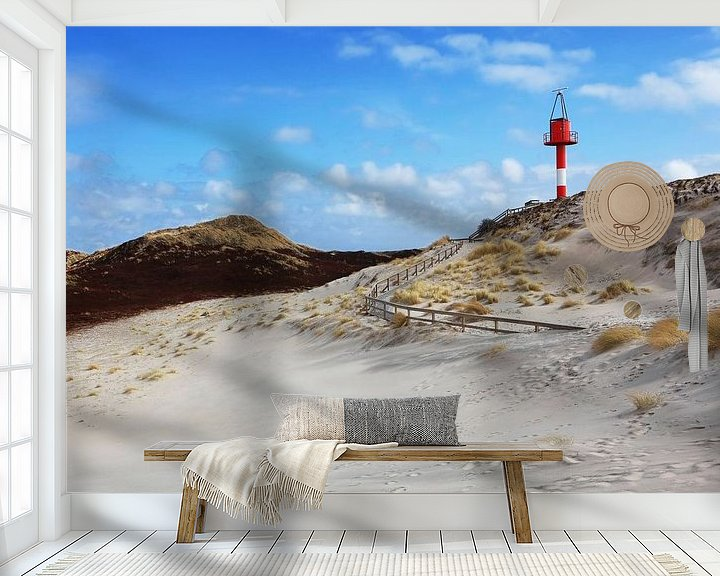 Sfeerimpressie behang: Baken op het strand van Sylt van Frank Herrmann