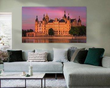 Sonnenuntergang im Schweriner Schloss, Deutschland von Henk Meijer Photography
