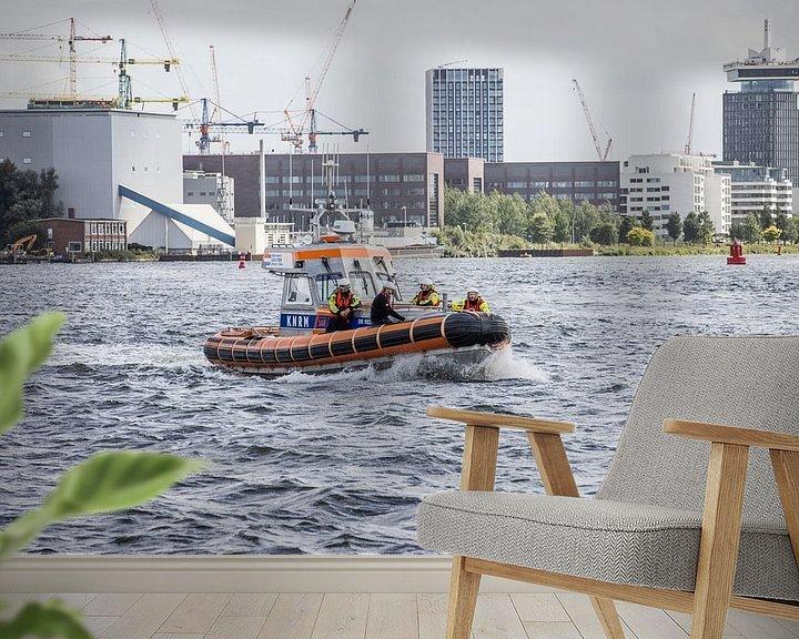 Sfeerimpressie behang: KNRM Amsterdam in actie op het IJ van denk web