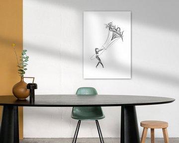 Poster Kitesurfer - Kitesurf-Star - schwarz-weiß von Studio Tosca