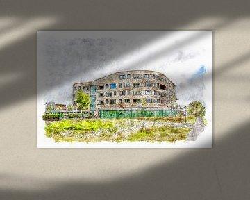 Woonzorgcomplex Borrendamme in Zierikzee (aquarel) van Art by Jeronimo