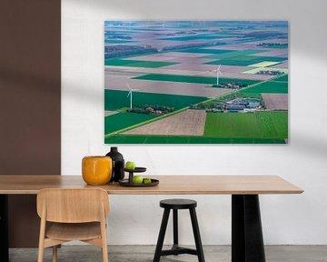 Luchtfoto van een windturbine in Flevoland van Sjoerd van der Wal