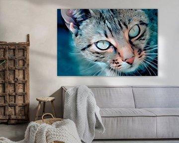 Polygon-Porträt einer Katze in blau-grauen Farben von Diana van Tankeren