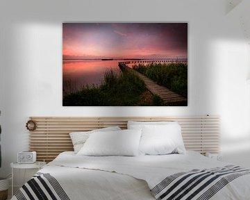 Zonsondergang met steiger van Dethmer Kupers