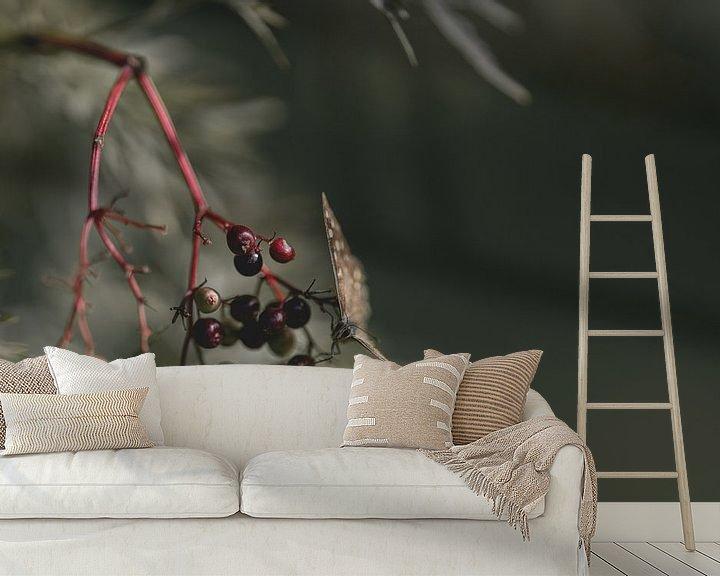 Sfeerimpressie behang: Vlinder zit op bessen van Steven Dijkshoorn