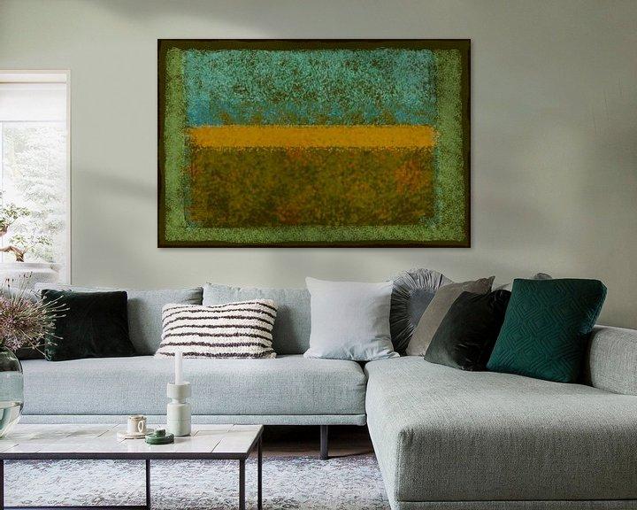 Sfeerimpressie: Abstract met groen en oker van Rietje Bulthuis