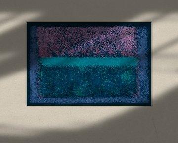 Abstract met blauw, groen en roze van Rietje Bulthuis
