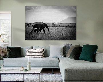 Elefantenmutter und Jungtiere in der Masai Mara, Kenia von Dave Oudshoorn