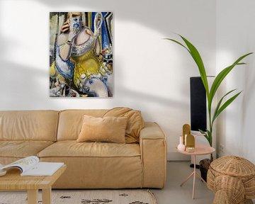 Dirne, sich pudernd, in gelbem Korsett, PAUL KLEINSCHMIDT, 1938 von Atelier Liesjes