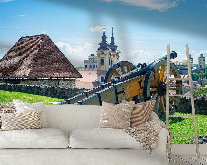 Beispiel fototapete: Kanone auf der Mauer der Burg von Eger, Ungarn von Menno van der Haven