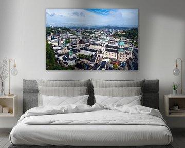 Uitzicht op de stad Salzburg in Oostenrijk van Rico Ködder