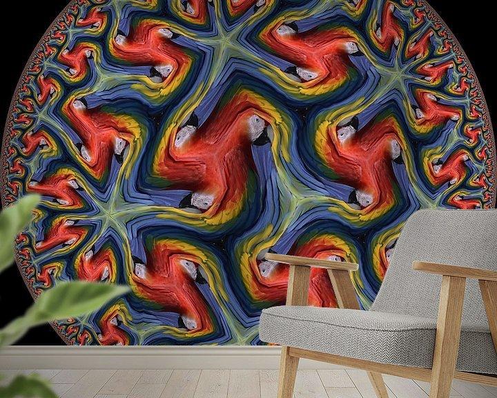 Sfeerimpressie behang: Papegaai van Tis Veugen