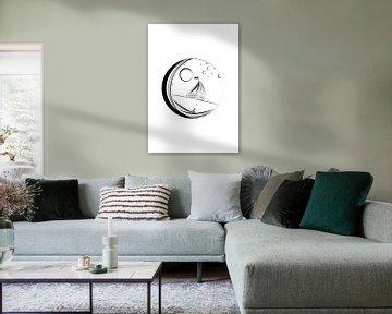 Ocean in the moon - poster zeilboot in de maan van Studio Tosca