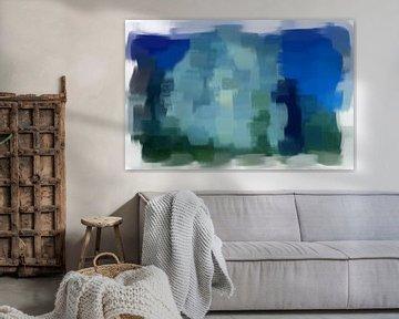 Abstract grijs blauw groen van Maurice Dawson