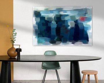Abstract in blauw grijs rood van Maurice Dawson