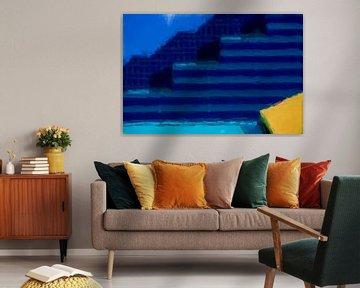 Abstract in blauw geel van Maurice Dawson