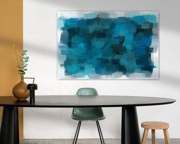 Abstract blauw monochroom van Maurice Dawson