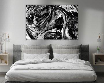 Abstract vloeistof zwart wit van Maurice Dawson