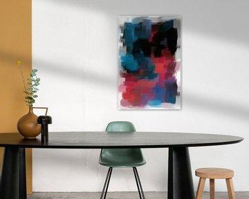 Abstract rood blauw zwart van Maurice Dawson