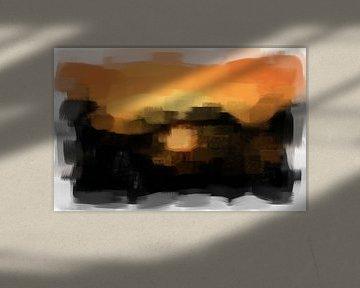 Abstract in zwart oranje van Maurice Dawson