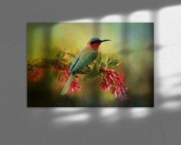 Vogel Schilderij Met Bijeneter Op Bloem In Tropische Kleuren