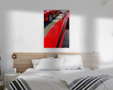 Deux voitures de sport Ferrari Testarossa rouges des années 1980 sur Sjoerd van der Wal