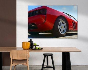 Ferrari Testarossa rouge, voiture de sport des années 1980, vue arrière sur Sjoerd van der Wal