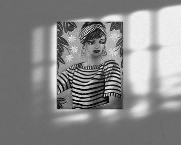 Dame in Streifen (schwarz-weiß) von Lucienne van Leijen