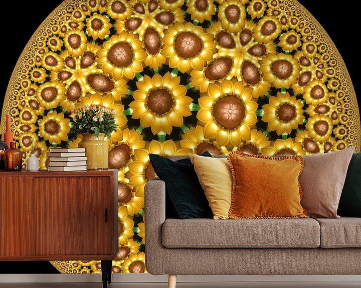 Sfeerimpressie behang: Glow Zonnebloemen van Tis Veugen