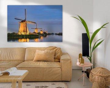 Beleuchtete Windmühlen in Kinderdijk von Michael Valjak