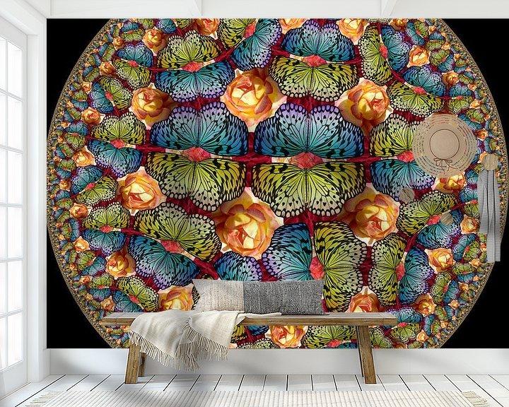 Sfeerimpressie behang: Vlinders in Rozentuin van Tis Veugen