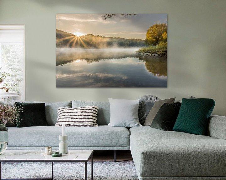 Beispiel: Sonnenaufgang mit Nebel und Sonnenstrahlen im Cranenweyer von John van de Gazelle