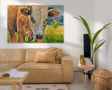 Digitales Gemälde Porträt Blaskopf Kuh von Photo Henk van Dijk