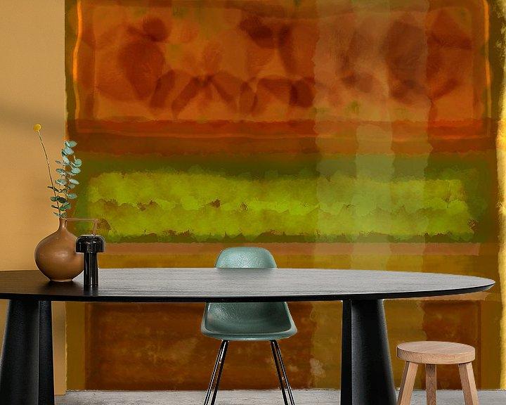 Sfeerimpressie behang: Abstract aquarel in aardetinten van Rietje Bulthuis