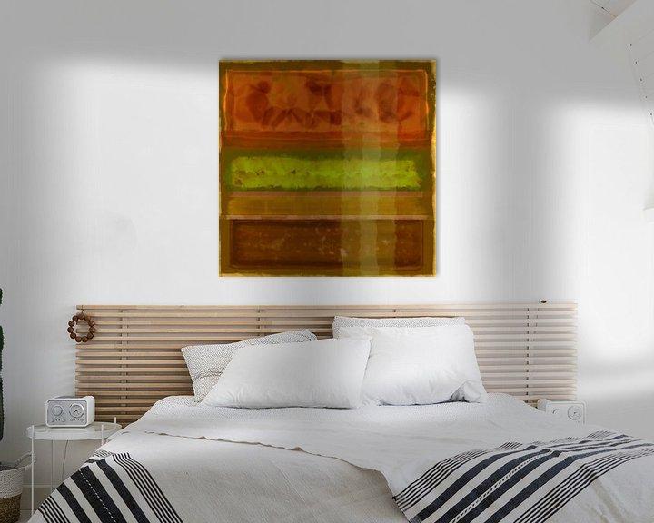 Sfeerimpressie: Abstract aquarel in aardetinten van Rietje Bulthuis