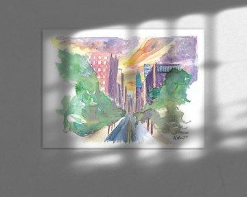 New York City Lexington Avenue Blick auf die Skyline von Markus Bleichner
