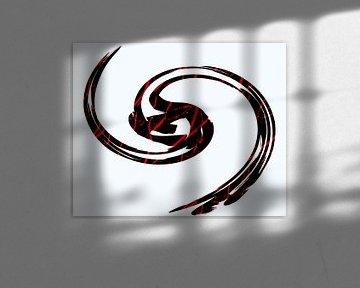 Abstract in zwart rood wit van Maurice Dawson