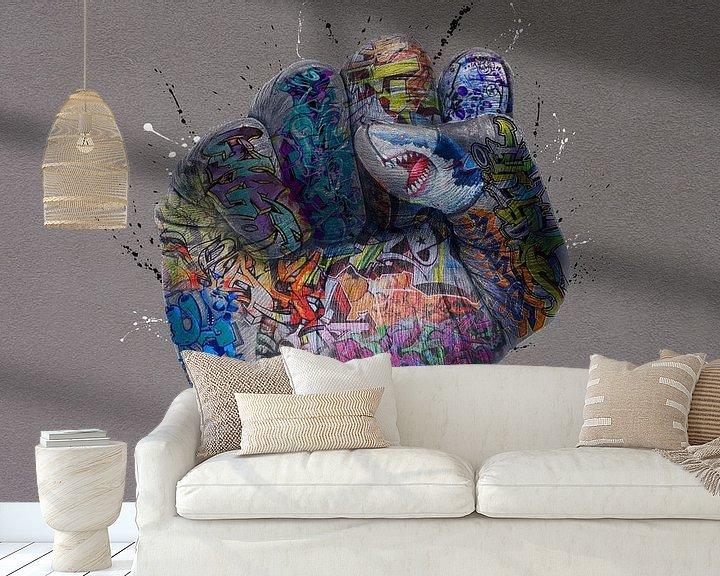 Beispiel fototapete: Geballte Graffiti-Faust von Rene Ladenius Digital Art