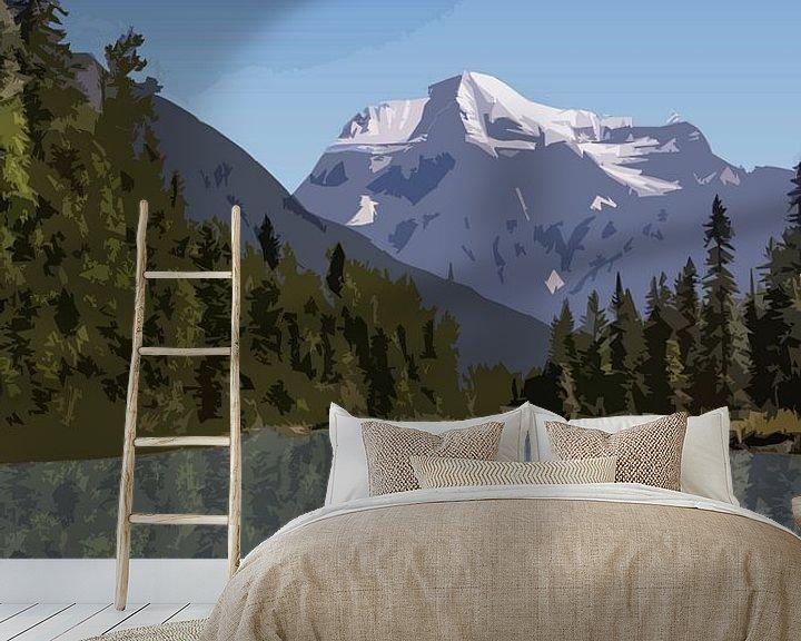 Sfeerimpressie behang: Jasper Alberta Canada Vintage Tourism poster van Joost Winkens