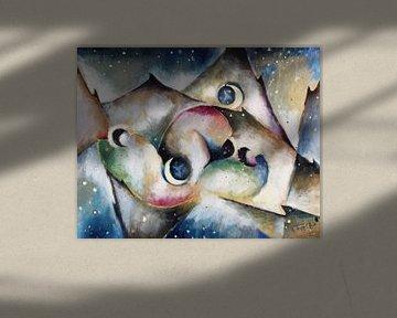ARNOLD TOPP (kubist), Schlafende Gestalten in nächtlicher Gebirgslandschaft, 1917 von Atelier Liesjes