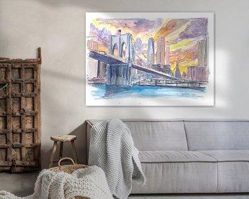 Brooklyn Bridge bei Sonnenuntergang mit der Skyline von Manhattan von Markus Bleichner