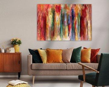 Abstrakes Acryl Kunstbild mit vielen Farben von Stefan teddynash