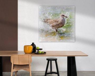 Juveniele zilvermeeuw (schilderij) van Art by Jeronimo