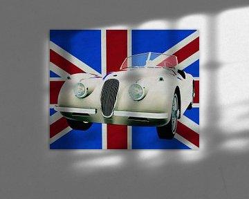 La Jaguar XK devant l'Union Jack