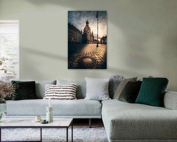 In de ochtend in Dresden de Fauenkirche met gulideckel bij zonsopgang van Fotos by Jan Wehnert