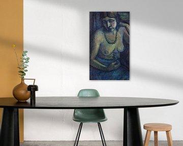 Selbstporträt in Blau (Halbakt mit Perlenkette), Dorothea Maetzel-Johannsen, Um 1917-1922